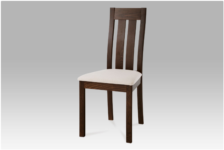 Jídelní dřevěná židle DADO – masiv buk, ořech, béžový potah