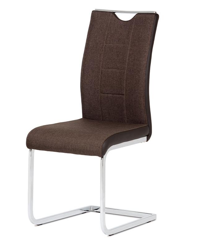 Jídelní židle RIVONA — chrom, hnědá látka/hnědá koženka