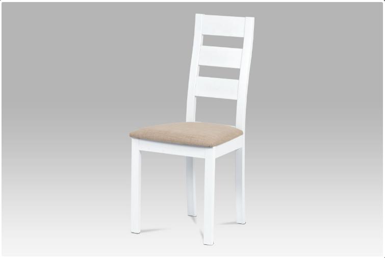 Jídelní dřevěná židle LUCE – masiv buk, bílá, světlý potah