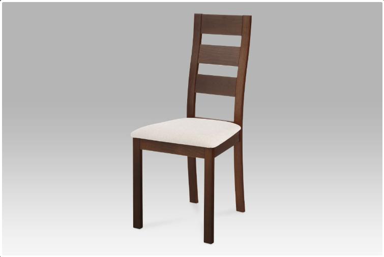 Jídelní dřevěná židle LUCE – masiv buk, ořech, světlý potah