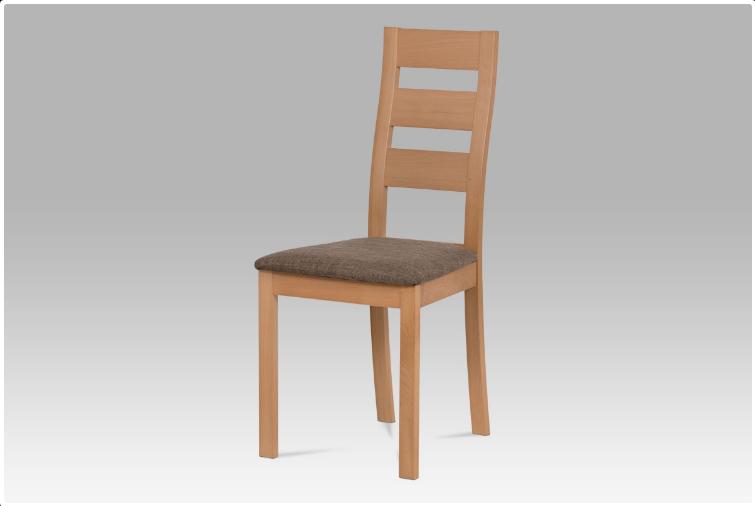 Jídelní dřevěná židle LUCE – masiv buk, buk, hnědý potah