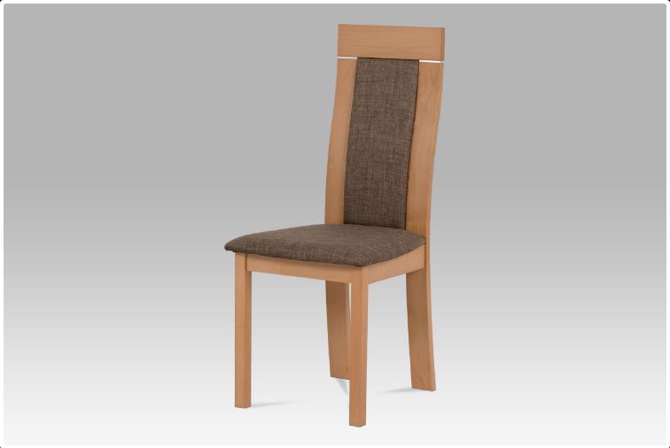 Jídelní dřevěná židle NOCCIOLA – buk, hnědý potah