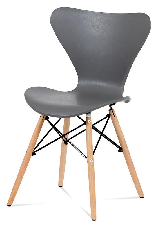 Jídelní židle CANNA — kov, šedý plast