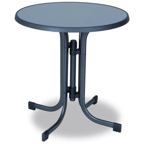 Zahradní kulatý stůl GRIG — kov, šedá, průměr 70 cm