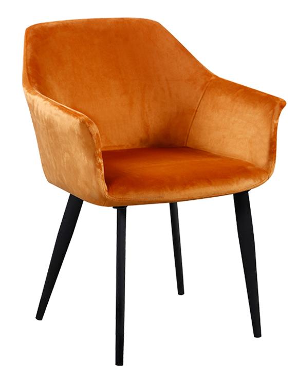 Designové jídelní křesílko ODOVEL — látka, kov/buk, více barev Cihlová/kovové nohy