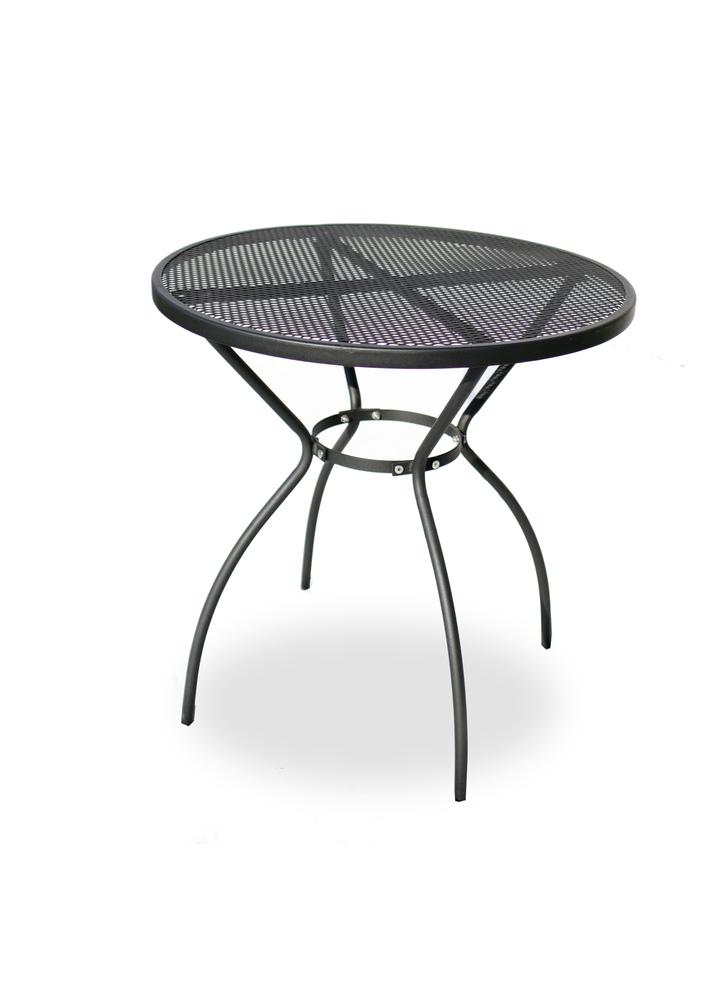Zahradní kulatý stůl ANTILA — kov, černá, průměr 70 cm