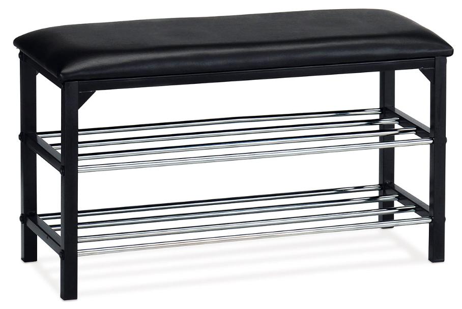 Botník KOBUK s odkládacími policemi - kov, koženka, černá