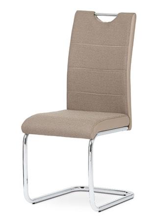 Jídelní židle ALMADA — chrom, látka/koženka, více barev Kapučíno