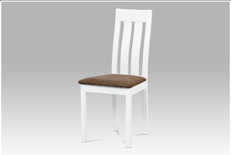 Jídelní dřevěná židle DADO – masiv buk, bílá, hnědý potah