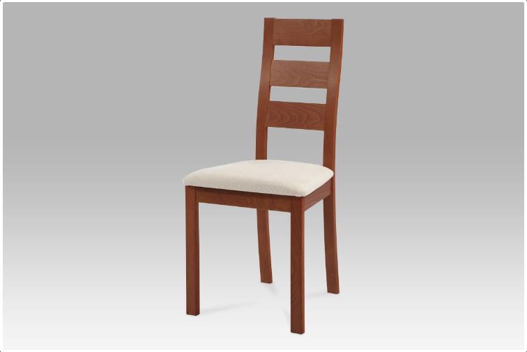 Jídelní dřevěná židle LUCE – masiv buk, třešeň, béžový potah