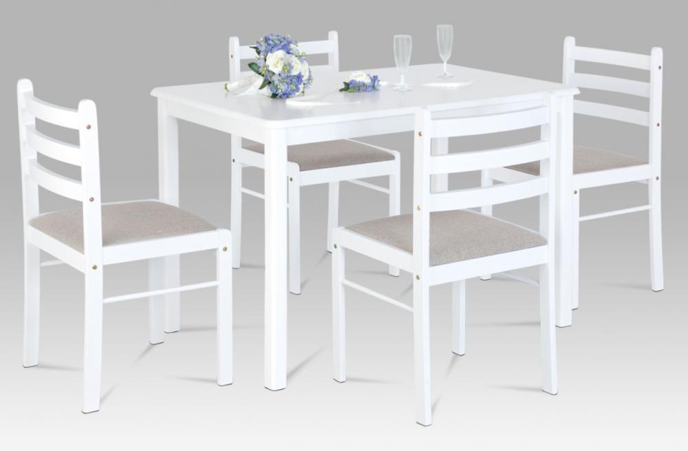 Jídelní set 1 + 4 ve skandinávském stylu – bílý, čalouněné židle