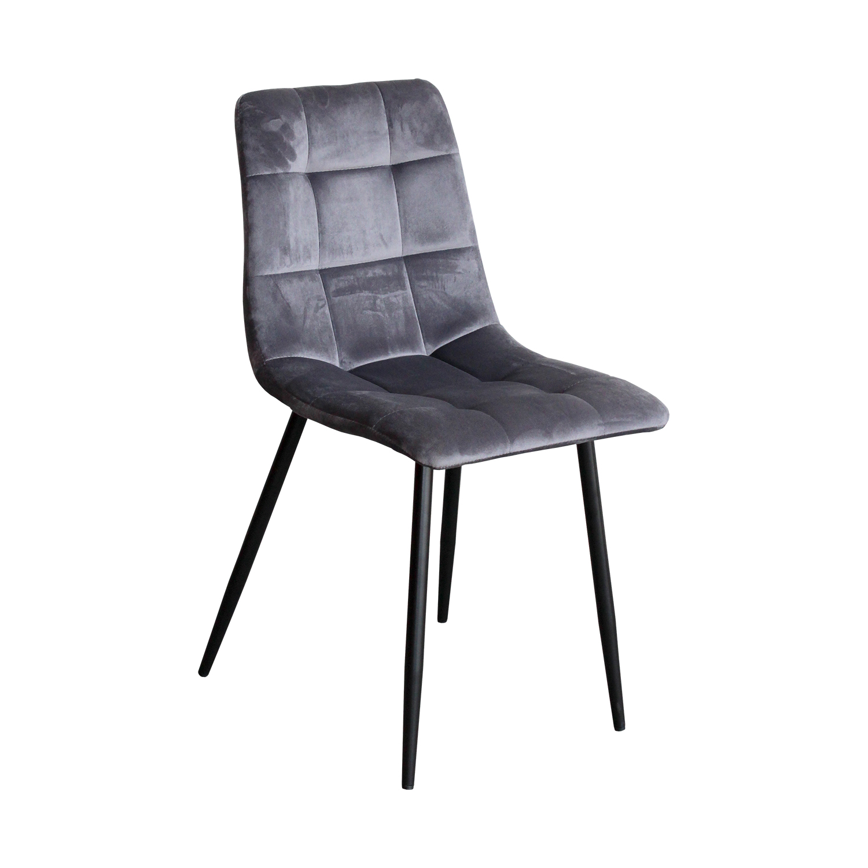 Jídelní židle MACAO – čalouněná, sametový potah, šedá
