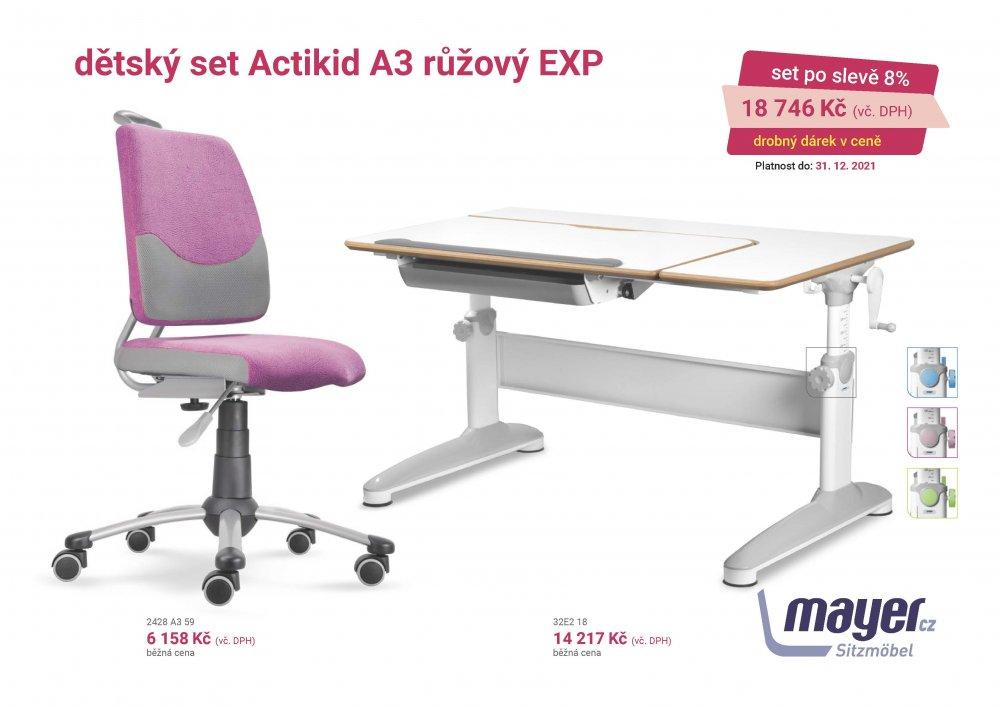 Dětský set Mayer – rostoucí židle ACTIKID A3 SMILE a rostoucí stůl EXPERT, růžový + dárek