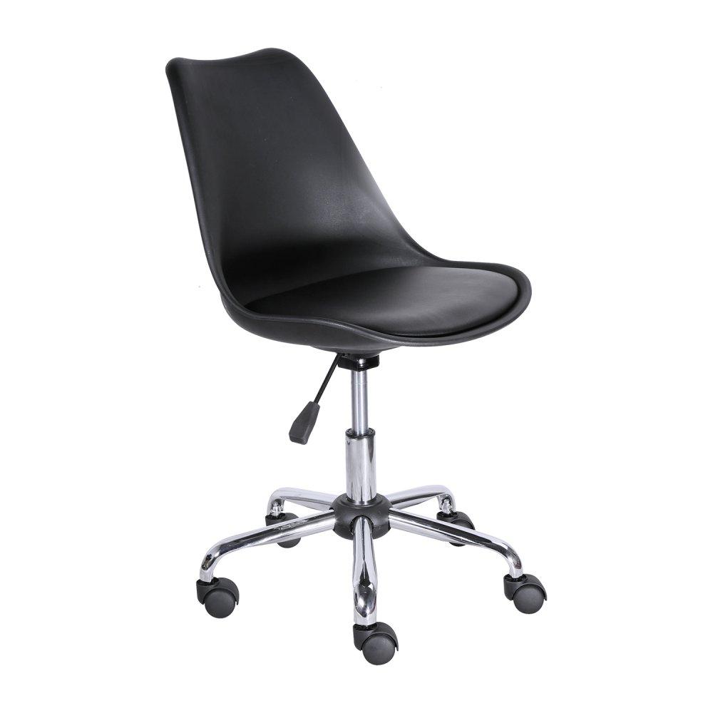 Kancelářské křeslo na kolečkách GENT — PU kůže, plast, černá
