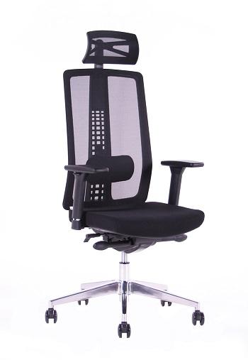 Kancelářská ergonomická židle Sego SPIRIT — černá, nosnost 130 kg