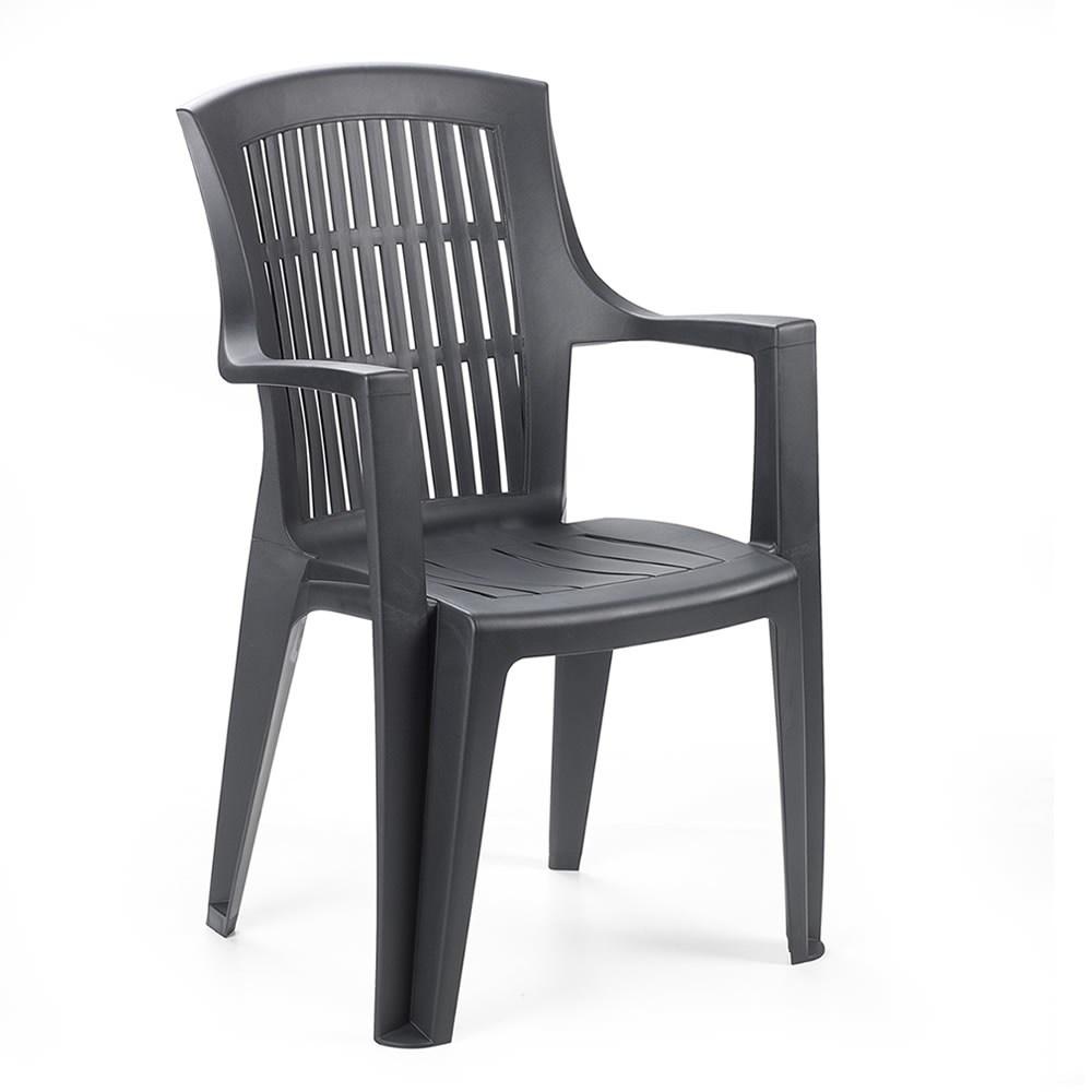 Zahradní židle KARA — plast, více barev Antracit