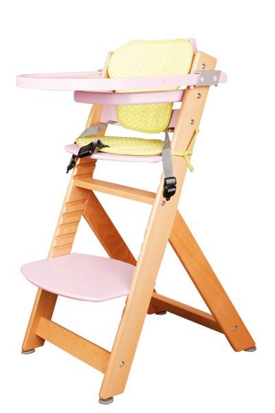 Dětská rostoucí židle TIANA — masiv buk, růžová / přírodní