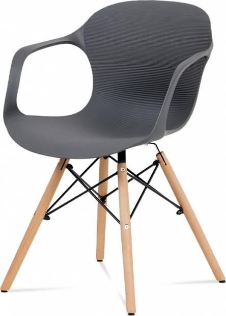 Jídelní židle ALBINA — kov / buk/ plast, šedá