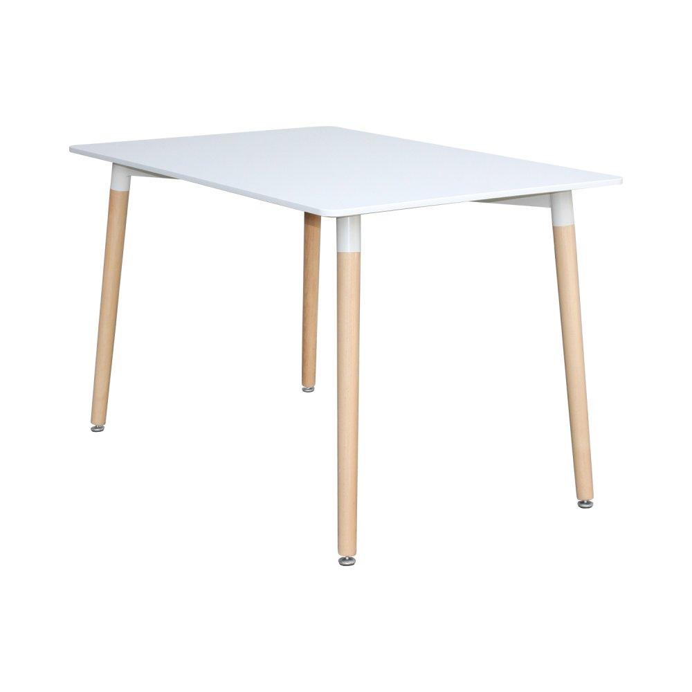 Jídelní stůl UNO — 120x80 cm, buk / kov, bílá