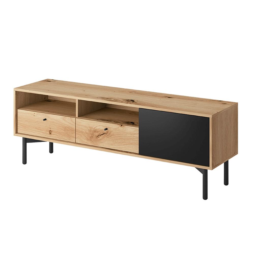TV stolek FORSO — 151x41x53 cm, dub artisan/černá